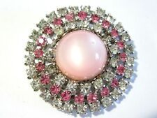 PINK MOONGLOW AND RHINESTONE PIN ROUND VINTAGE