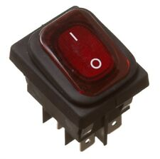 RED ROCKER SWITCH DOUBLE POLE 16A WATERPROOF BELLOW SEAL