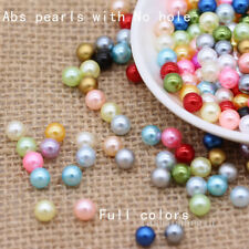 3/4/6/8mm assorted No Hole Round Pearl loose Acrylic beads crafts jewelry making