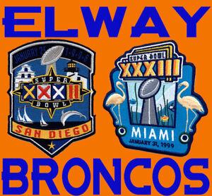 (2) DENVER BRONCOS John Elway SUPER BOWL PATCHES Willabee Ward SB PATCH 32 & 33