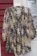 "JM COLLECTION Animal Print 3/4 Sleeve Split V Neck Sequin Pintuck Blouse 16W 53"""
