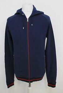GUCCI Men's Dark Blue/Red Cotton Blend Hooded Zip Front Cardigan Size XL