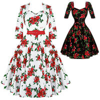Hell Bunny Eternity 1950s Vintage Retro Rockabilly Flared Swing Dress UK