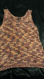 F&F Ladies Chunky Knit Vest Top Multi Coloured Size Aprox 14/16 No Labels