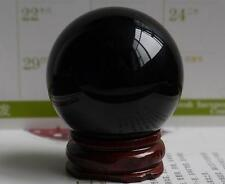 HOT! 40MM +Stand Natural Black Obsidian Sphere Large Crystal Ball Healing.9