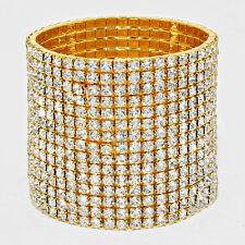 Rhinestone Bracelet 15 Row Wide Stretch Bangle Crystal Pave Wedding Bride GOLD