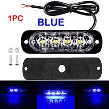 4pcs Blue 4 LED Car Truck Emergency Beacon Warning Hazard Flash Strobe Light Bar
