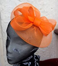 bright orange fascinator millinery burlesque wedding hat ascot race bridal