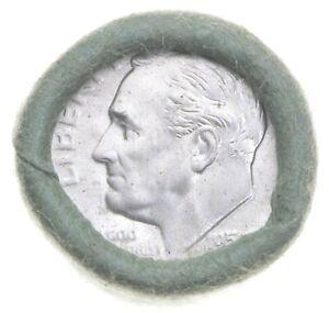 1955-S Gem BU Original Bank Roll Roosevelt Silver Dime $5 Face OBW *0968