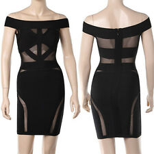 Off the shoulder mesh bandage dress