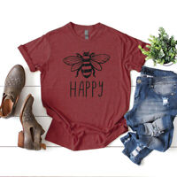 Womens Funny Bee Happy Letter Print T-Shirt Summer Short Sleeve Blouse Tees Tops