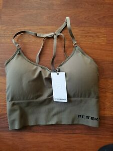 Better bodies Astoria seamless army green strappy Bra Top size L NWT