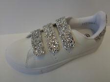 para niñas, color blanco / Plata Glitz CIERRE ADHESIVO Spot On Zapatillas h2r391