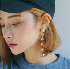2Pcs Gold Silver Plated Women Geometric Dangle Drop Big Circle Ear Stud Earrings
