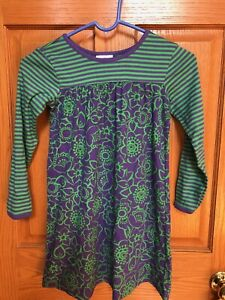 girls hanna andersson everyday dress size 120 purple/ green long sleeve NWOT