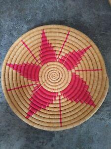"VTG Coil Basket Sweet Grass Straw Raffia Hand Woven With Flower Design Pink 12"""