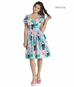 Hell Bunny 50s Mid Length Dress RAPHAELLA Tropical Toucans Flowers XS 8
