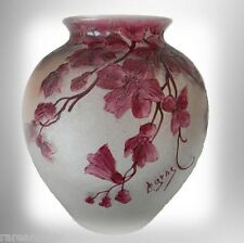 Legras cameo vase with cranberry floral and design FREE SHIPPING