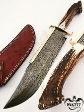 BEAUTIFUL CUSTOM HANDMADE DAMASCUS STEEL HUNTING TAXAS BOWIE KNIFE HANDLE HORN