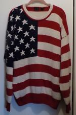 Structure Red, White & Blue Raime / Cotton  Flag Sweater - Misses Size M
