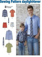Boys Men Shirt Boxer Shorts Tie Simplicity Sewing Pattern 8180 New Size S-XL #z