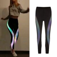 Women's Yoga Fitness Leggings Gym Stretch Sports Glow in Dark Pants Trousers