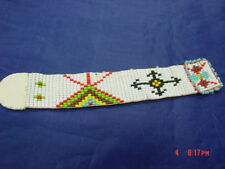 Vintage Hand Made white Beaded Book Mark colorful teepee look decor on band