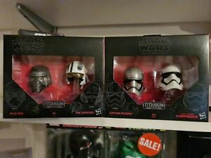 Star Wars Black Series #1 & #2 (WAVE 1) Titanium Die-Cast Helmet Collection NEW