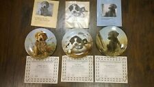 Lot of 3, Collector plates, Field Puppies, Dog Tired, Caught in The Act, Nm