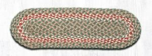 Green and Burgundy Braided Stair Tread / Table Runner by Earth Rugs
