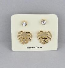 Gold leaf earrings set of 2 pair monstera leaf clear crystal posts stud leaves