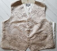 mens GOLD beige pattern WAISTCOAT occasion smart WEDDING various sizes FREE POST
