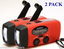 Solar Powered Flashlight Rechargeable Cell Phone Charger Radio USB MP3 - 2 Pack