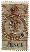 (I.B) New Zealand Revenue : Stamp Duty 6d (reversed watermark)