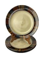 """Pier 1 Import Mosaic Brown 11"""" Dinner Plate Hand Painted Stoneware Set of 3"""