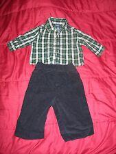 Baby Boy's Jonathan Strong 3-6 Mos Set Plaid Shirt & Black Cordury Pants EUC
