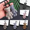 Cute Teddy Bear Keyring Rhinestones Gloomy Bear Keyring Handbag Charm 3D Pendant