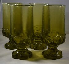 Vintage Tiffin Franciscan Madeira Olive Green Ice Tea Footed Goblets Set of 4
