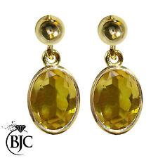 Citrine 9 Carat Yellow Gold Drop/Dangle Fine Earrings