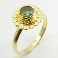 10 925 Solid Silver Stone Jewelry Yellow Gold Plated Round Peridot Ring Sz