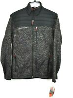 Free Country Mens Frore Sweater Knit Fleece Jacket Heather Gray Full Zip S