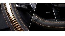 38cm TypeD Black PU Leather Gold Orange 5D Carbon Fiber Car Steering Wheel Cover
