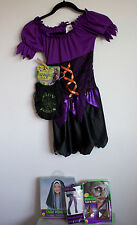 Girls Complete Purple WItch Costume Dress Wig Potion Bag Tights Fake Nose Lg w12