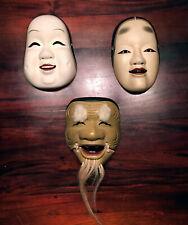 3 of Japanese Vintage Wooden Noh Kyougen Kabuki Masks