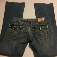 TRUE RELIGION JOEY Womens Blue Jeans 27 X 33 TWISTED Flare Boot Cut Low
