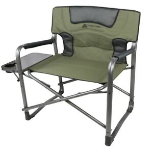 Folding Padded Director Chair XXL W/ Side Table, 600 Lb Capacity Outdoor Camping