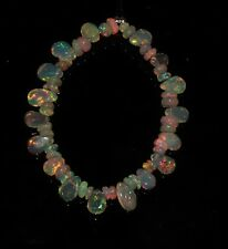 """7.50 TCW 4""""NATURAL ETHIOPIAN FIRE OPAL ALMOND WITH ROUNDEL BEADS DEMI STRAND"""