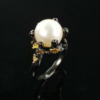 Natural Pearl 925 Sterling Silver Ring Size 7/RS18-0053