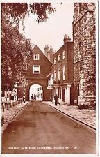 Postcard Rochester College Gate From Cathedral Postmark Rochester & Chatham 1951