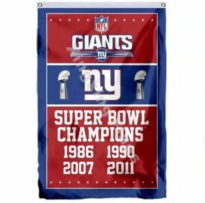 New York Giants Super Bowl Champions Flag 3X5 FT NFL Banner Polyester FAST SHIPP